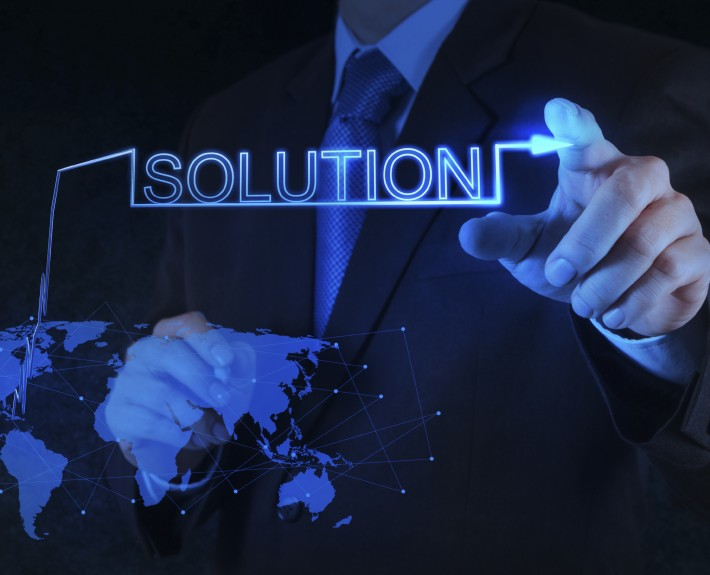 businessman hand pushing solution graph on a touch screen